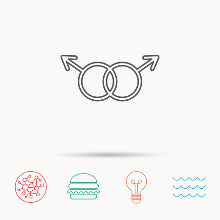 Gay couple icon. Homosexual sign. Global connect network, ocean wave and burger icons. Lightbulb lamp symbol.