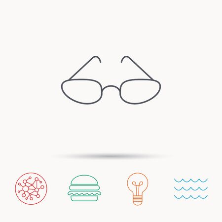 eyewear: Glasses icon. Reading accessory sign. Global connect network, ocean wave and burger icons. Lightbulb lamp symbol.