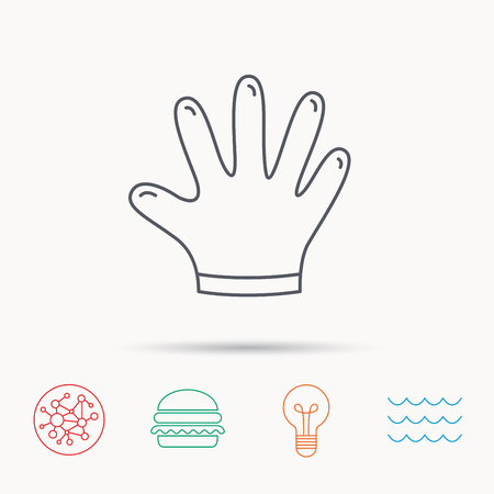 cleaning equipment: Rubber gloves icon. Latex hand protection sign. Housework cleaning equipment symbol. Global connect network, ocean wave and burger icons. Lightbulb lamp symbol.