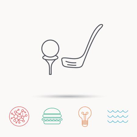 professional equipment: Golf club icon. Golfing sport sign. Professional equipment symbol. Global connect network, ocean wave and burger icons. Lightbulb lamp symbol.