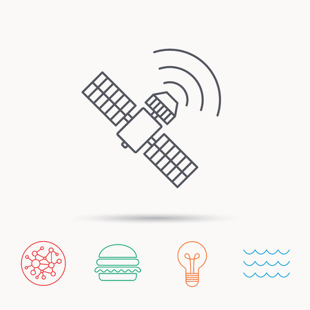 satellite navigation: GPS icon. Satellite navigation sign. Global connect network, ocean wave and burger icons. Lightbulb lamp symbol.