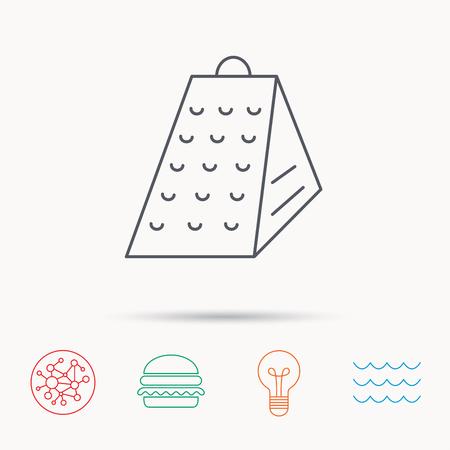 slicer: Grater icon. Kitchen tool sign. Kitchenware slicer symbol. Global connect network, ocean wave and burger icons. Lightbulb lamp symbol. Illustration