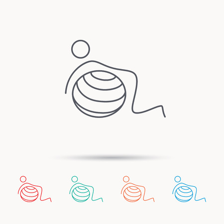 toning: Gymnastic ball icon. Pilates fitness sign. Sport workout symbol. Linear icons on white background.