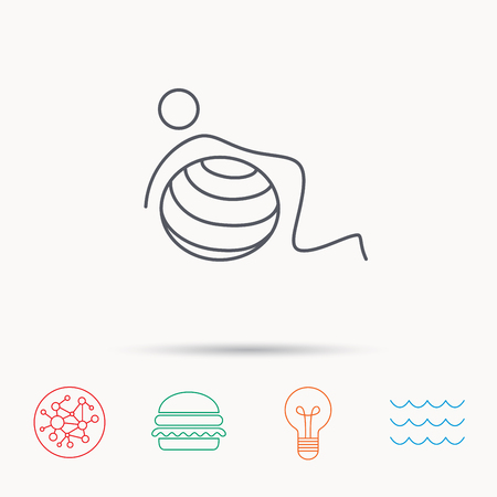 """pilates ball"": Gymnastic ball icon. Pilates fitness sign. Sport workout symbol. Global connect network, ocean wave and burger icons. Lightbulb lamp symbol."