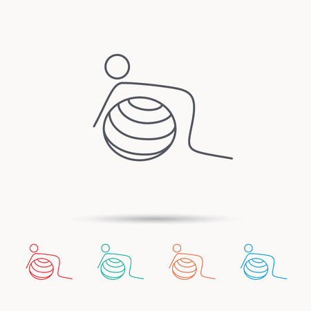 """pilates ball"": Gymnastic ball icon. Pilates fitness sign. Sport workout symbol. Linear icons on white background."