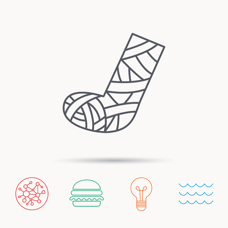 cast: Gypsum or cast foot icon. Broken leg sign. Human recovery medicine symbol. Global connect network, ocean wave and burger icons. Lightbulb lamp symbol.
