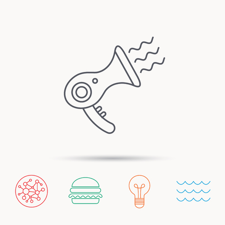 air diffuser: Hairdryer icon. Electronic blowdryer sign. Hairdresser equipment symbol. Global connect network, ocean wave and burger icons. Lightbulb lamp symbol. Illustration