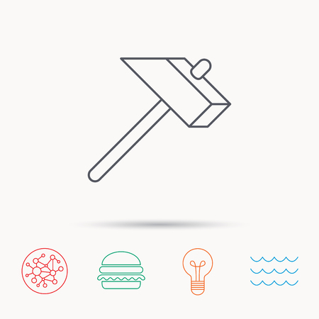 mat�riel chantier: Hammer icon. Repair or fix sign. Construction equipment tool symbol. Global connect network, ocean wave and burger icons. Lightbulb lamp symbol. Illustration