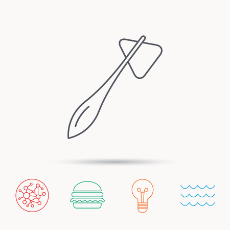 neurologist: Reflex hammer icon. Doctor medical equipment sign. Nervous therapy tool symbol. Global connect network, ocean wave and burger icons. Lightbulb lamp symbol.