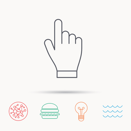 click with hand: Click hand icon. Press or push pointer sign. Global connect network, ocean wave and burger icons. Lightbulb lamp symbol. Illustration