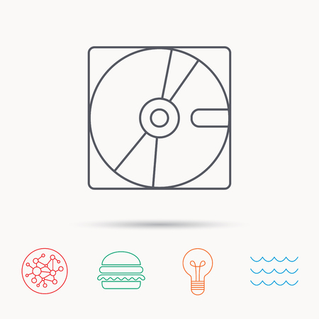 harddrive: Harddisk icon. Hard drive storage sign. Global connect network, ocean wave and burger icons. Lightbulb lamp symbol.