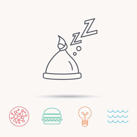 nodule: Baby hat with nodule icon. Newborn cap sign. Toddler sleeping clothes symbol. Global connect network, ocean wave and burger icons. Lightbulb lamp symbol.