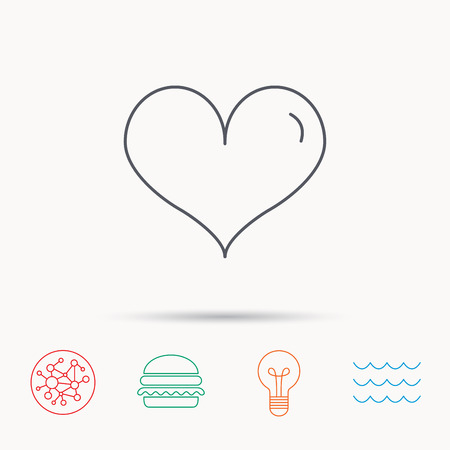 february 1: Heart icon. Love sign. Life symbol. Global connect network, ocean wave and burger icons. Lightbulb lamp symbol. Illustration