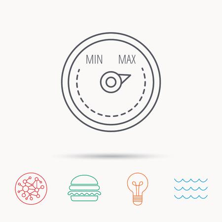 regulator: Heat regulator icon. Radiator thermometer sign. Global connect network, ocean wave and burger icons. Lightbulb lamp symbol. Illustration