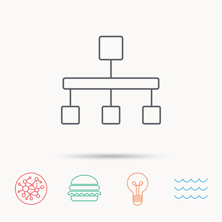 hierarchy: Hierarchy icon. Organization chart sign. Database symbol. Global connect network, ocean wave and burger icons. Lightbulb lamp symbol.