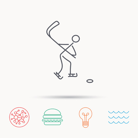 professional sport: Ice hockey icon. Professional sport game sign. Global connect network, ocean wave and burger icons. Lightbulb lamp symbol. Illustration