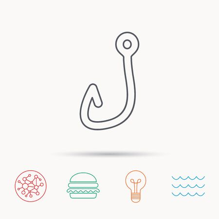 fishinghook: Fishing hook icon. Fisherman equipment sign. Angling symbol. Global connect network, ocean wave and burger icons. Lightbulb lamp symbol.