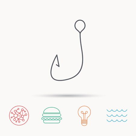 fishhook: Fishing hook icon. Fisherman equipment sign. Angling symbol. Global connect network, ocean wave and burger icons. Lightbulb lamp symbol.