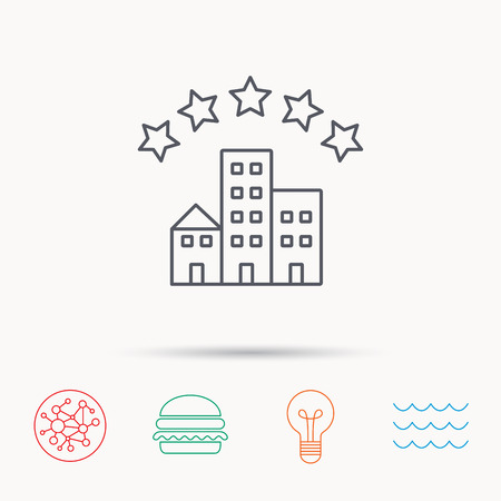 five stars: Hotel icon. Five stars service sign. Luxury resort symbol. Global connect network, ocean wave and burger icons. Lightbulb lamp symbol. Illustration