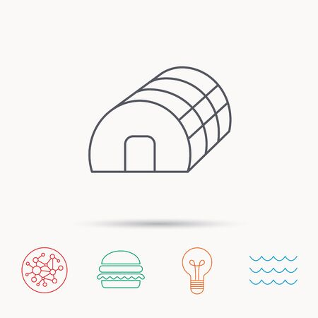 warm house: Greenhouse complex icon. Hothouse building sign. Warm house symbol. Global connect network, ocean wave and burger icons. Lightbulb lamp symbol.