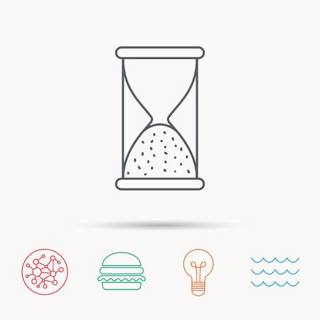 icono de reloj de arena. arena fin señal de tiempo. Hora termina símbolo. la red, las olas oceánicas y Burger iconos de conexión globales. símbolo de luz de la bombilla.