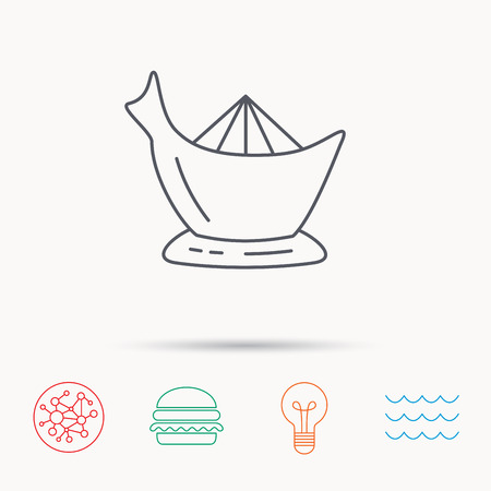 squeezer: Juicer icon. Squeezer sign. Kitchen electric tool symbol. Global connect network, ocean wave and burger icons. Lightbulb lamp symbol.