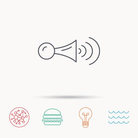 strident: Klaxon signal icon. Car horn sign. Global connect network, ocean wave and burger icons. Lightbulb lamp symbol. Illustration