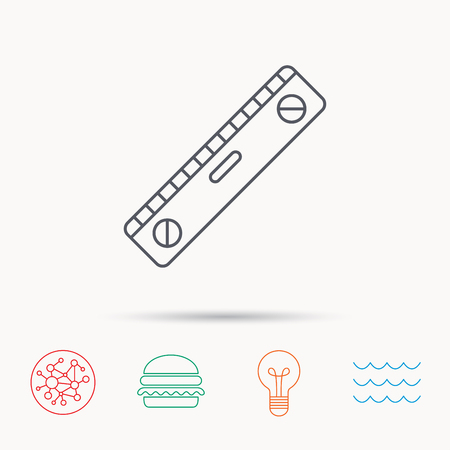 wave equality: Level tool icon. Horizontal measurement sign. Global connect network, ocean wave and burger icons. Lightbulb lamp symbol.