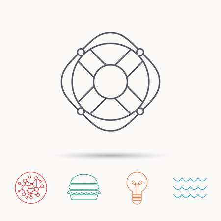 lifebelt: Lifebuoy with rope icon. Lifebelt sos sign. Lifesaver help equipment symbol. Global connect network, ocean wave and burger icons. Lightbulb lamp symbol. Illustration