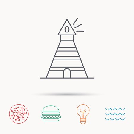 searchlight: Lighthouse icon. Searchlight signal sign. Coast tower symbol. Global connect network, ocean wave and burger icons. Lightbulb lamp symbol. Illustration