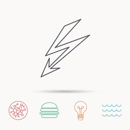 lightening: Lightening bolt icon. Power supply sign. Electricity symbol. Global connect network, ocean wave and burger icons. Lightbulb lamp symbol.