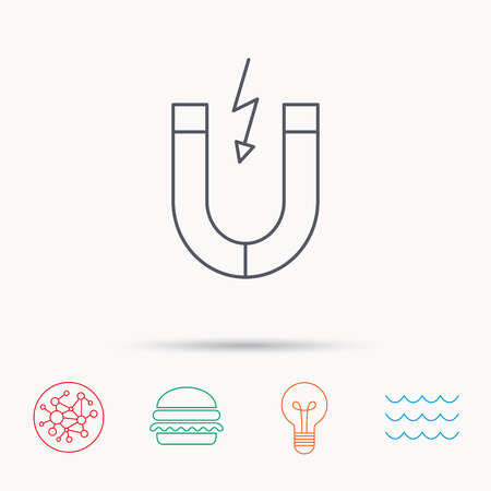 electromagnetic field: Magnet icon. Magnetic power sign. Physics symbol. Global connect network, ocean wave and burger icons. Lightbulb lamp symbol. Illustration