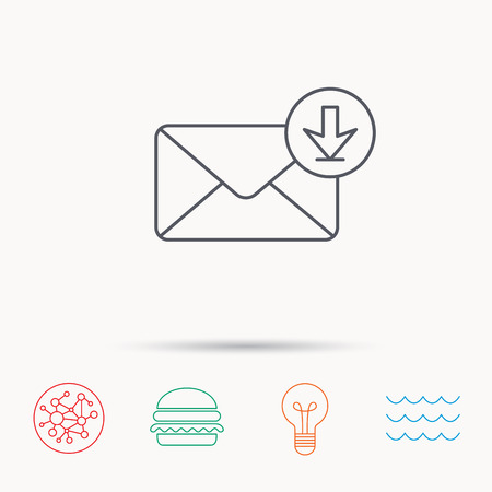 inbox icon: Mail inbox icon. Email message sign. Download arrow symbol. Global connect network, ocean wave and burger icons. Lightbulb lamp symbol. Illustration