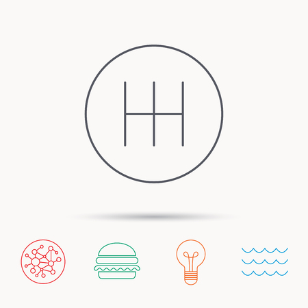 shifter: Manual gearbox icon. Car transmission sign. Global connect network, ocean wave and burger icons. Lightbulb lamp symbol.