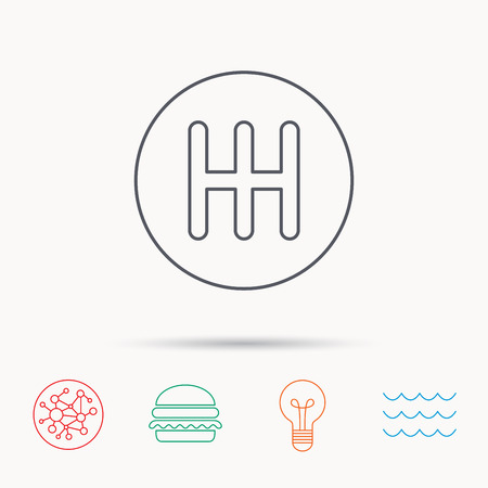 gearbox: Manual gearbox icon. Car transmission sign. Global connect network, ocean wave and burger icons. Lightbulb lamp symbol.