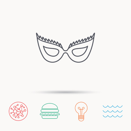 anonymous: Festive mask icon. Masquerade carnival sign. Anonymous symbol. Global connect network, ocean wave and burger icons. Lightbulb lamp symbol. Illustration