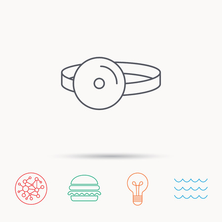 otorhinolaryngology: Medical mirror icon. ORL medicine sign. Otorhinolaryngology diagnosis tool symbol. Global connect network, ocean wave and burger icons. Lightbulb lamp symbol. Illustration