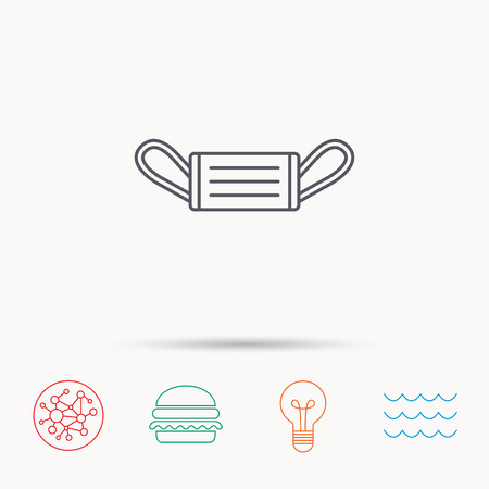 flu prevention: Medical mask icon. Epidemic sign. Illness protection symbol. Global connect network, ocean wave and burger icons. Lightbulb lamp symbol. Illustration