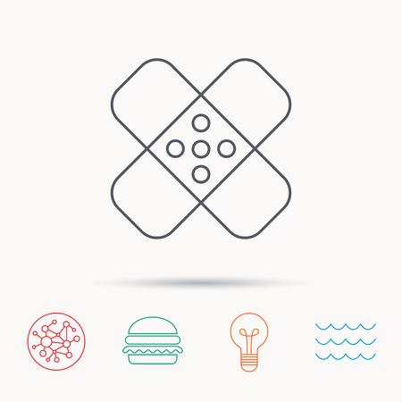 maim: Medical plaster icon. Injury fix sign. Global connect network, ocean wave and burger icons. Lightbulb lamp symbol.