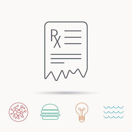 global health: Medical prescription icon. Health document sign. Global connect network, ocean wave and burger icons. Lightbulb lamp symbol.