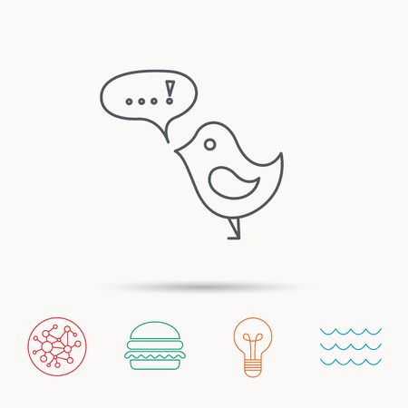 fowl: Bird with speech bubble icon. Chat talk sign. Cute small fowl symbol. Global connect network, ocean wave and burger icons. Lightbulb lamp symbol.