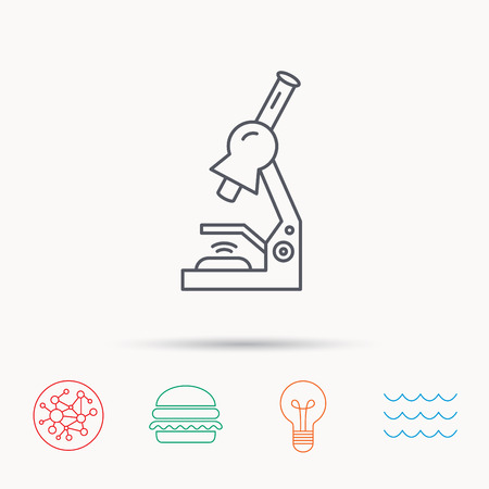 criminology: Microscope icon. Medical laboratory equipment sign. Pathology or scientific symbol. Global connect network, ocean wave and burger icons. Lightbulb lamp symbol.