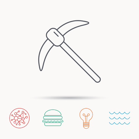 hardwork: Mining tool icon. Pickaxe equipment sign. Minerals industry symbol. Global connect network, ocean wave and burger icons. Lightbulb lamp symbol. Illustration
