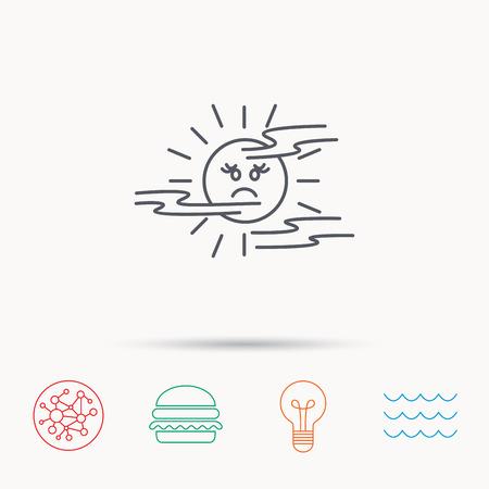 mist: Mist icon. Fog with sun sign. Sunny smile symbol. Global connect network, ocean wave and burger icons. Lightbulb lamp symbol. Illustration