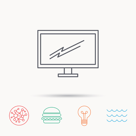 tv led: PC monitor icon. Led TV sign. Widescreen display symbol. Global connect network, ocean wave and burger icons. Lightbulb lamp symbol. Illustration