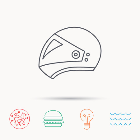 harley: Motorcycle helmet icon. Biking sport sign. Global connect network, ocean wave and burger icons. Lightbulb lamp symbol.