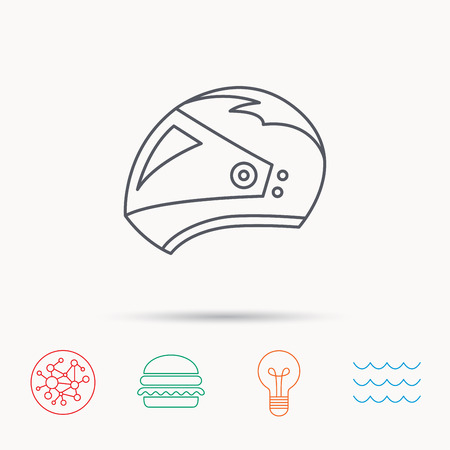 casco de moto: Motorcycle helmet icon. Biking sport sign. Global connect network, ocean wave and burger icons. Lightbulb lamp symbol.