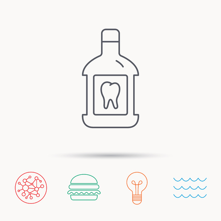 antibacterial: Mouthwash icon. Oral antibacterial liquid sign. Global connect network, ocean wave and burger icons. Lightbulb lamp symbol.