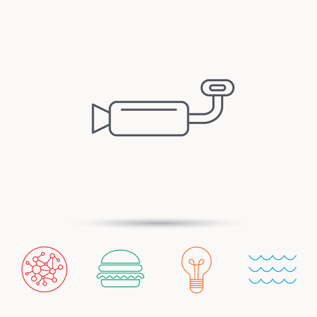tailpipe: Muffer icon. Car fuel pipe or exhaust sign. Global connect network, ocean wave and burger icons. Lightbulb lamp symbol.