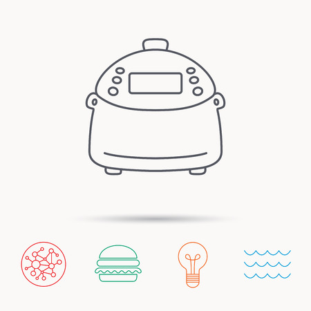 kitchen device: Multicooker icon. Kitchen electric device symbol. Global connect network, ocean wave and burger icons. Lightbulb lamp symbol.